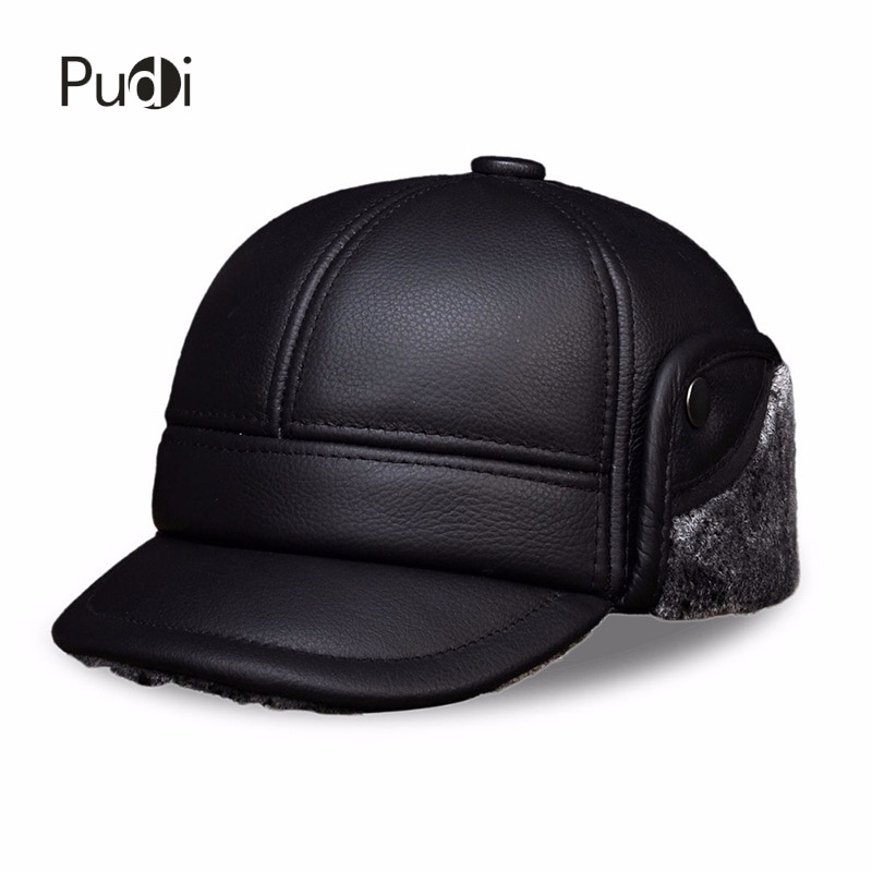 HL104 Men's real cow leather baseball cap hat brand new style winter warm Russian genuine leather caps hats with Faux fur inside