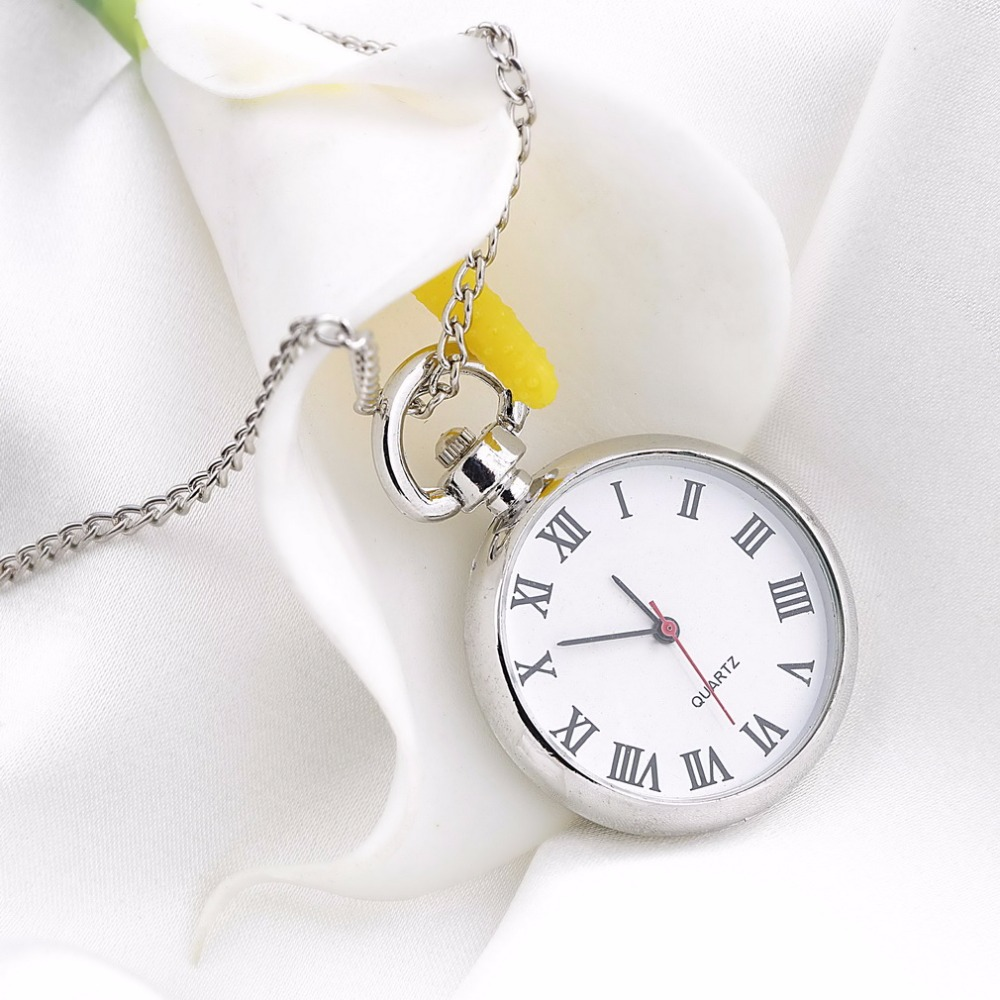 OUTAD 1pcs Quartz Round Pocket Watch Dial Vintage Necklace Silver Chain Pendant Antique Style Personality Pretty Gift classic smooth white round dial men s quartz pocket watch key chain design 88 bs88