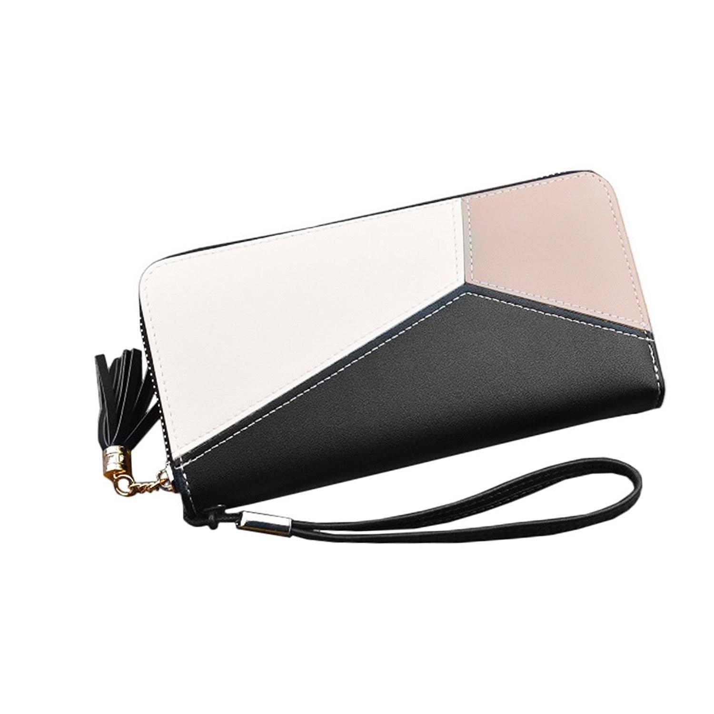 VSEN/Для женщин кошелек длинный кожаный на молнии дамы кошелек (черный)