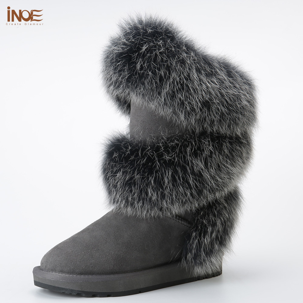 new style fashion real fox fur women high winter snow boots sheepskin suede leather sheep fur lined winter shoes black grey цены
