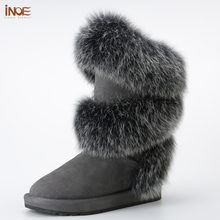 new style fashion real fox fur women high winter snow boots sheepskin suede leather sheep fur lined winter shoes black grey(China)