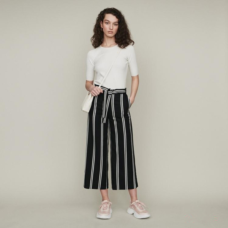 2019 New Women Striped Wide Leg Pants With Belt For Spring Summer