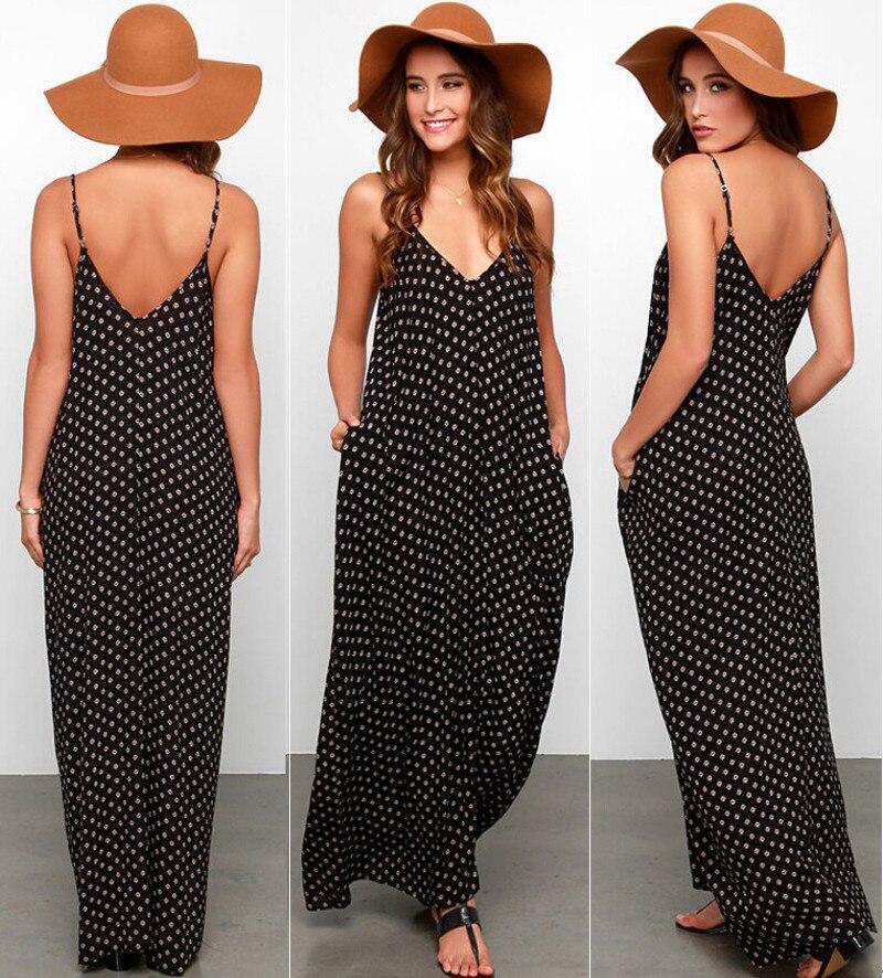 Women Black Summer Boho Dress Beach Wear Sleeveless Chiffon Strap Polka Dot Fashion Dress Ladies Long Maxi V-neck Beach Dress