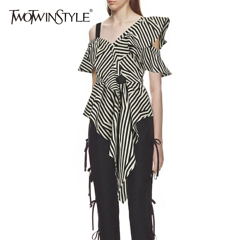 TWOTWINSTYLE Striped Irregular Shirt Female Off Shoulder Ruffles Short Sleeve High Waist Asymmetrical Blouse 2020 Summer Sexy