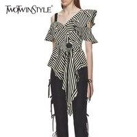 TWOTWINSTYLE Striped Irregular Shirt Female Off Shoulder Ruffles Short Sleeve High Waist Asymmetrical Blouse 2018 Summer Sexy
