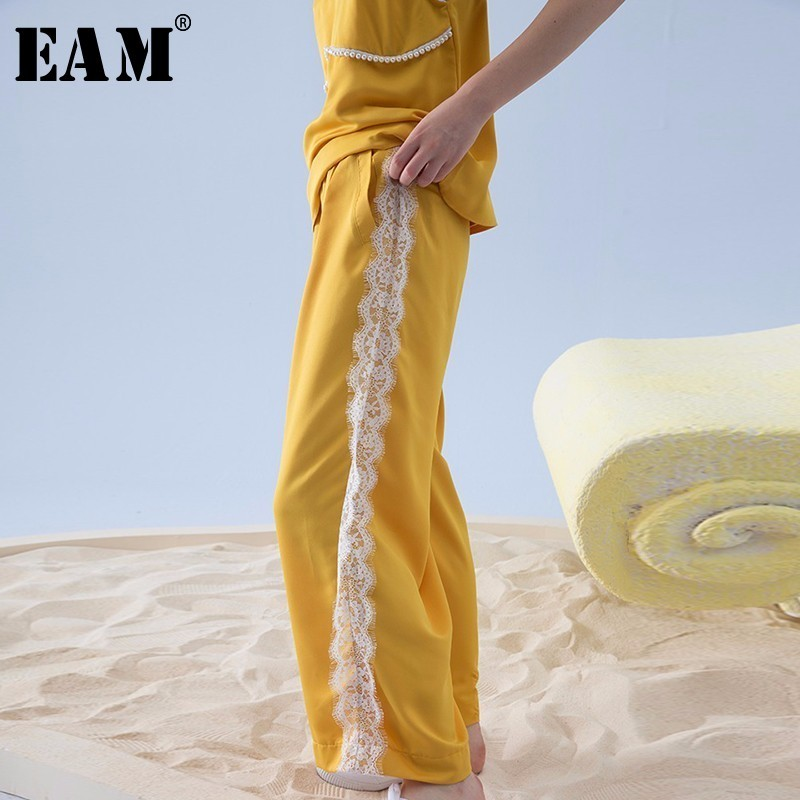 [EAM] 2018 Summer Fashion New Loose Casual Hight Waist Side Lace Stitching Yellow Wide Leg Pants Women