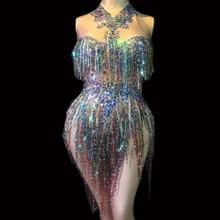 Stage Costume Jumpsuit Dancer Fringes Rhinestones Bright-Leotard Female Show Nightclub