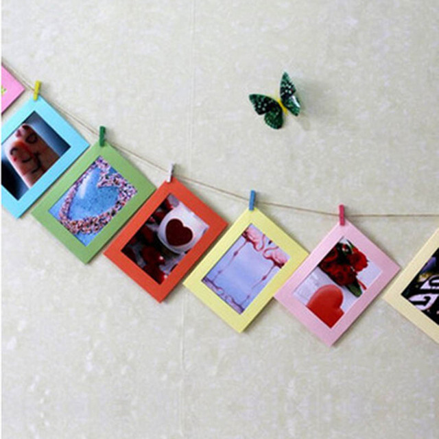 10pcs Colorful DIY Wall Hanging Paper Photo Frame Square Cute With