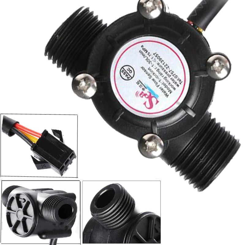 DN15 Pipe G 1/2'' Flow Sensor Hall Flowmeter , Flow Meter Control Water 1-30L/min Tools Flow Meter Controller