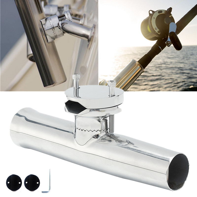 316 Stainless Steel Marine Boat Fishing Rod Clamp On Holder Mount For 19-25mm Rails