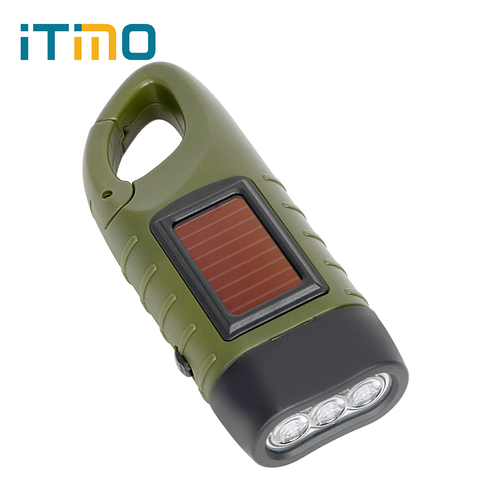 Portable LED Flashlight Hand Crank Dynamo Torch Lantern Professional Solar Power Tent Light for Outdoor Camping Mountaineering