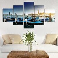 Venedig Schlepper Modulare Bild Sonnenuntergang Meer Öl Leinwand Rahmen Malerei Boot Kunst auf Wand Quadro Wandbild Cuadro
