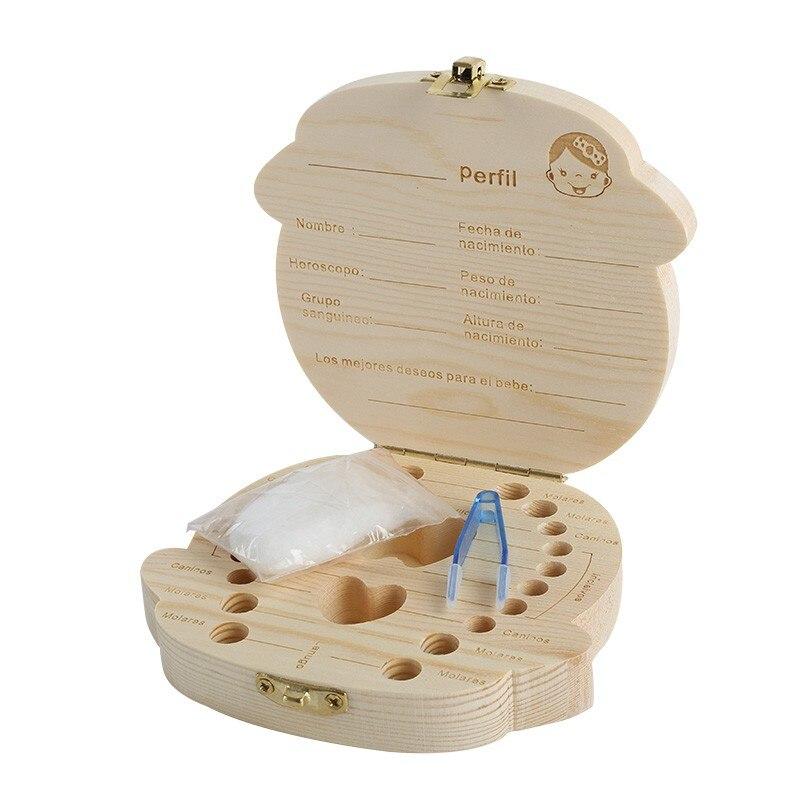 Baby Girl Boy Organizador de dientes de madera Guardar Dientes de - Organización y almacenamiento en la casa