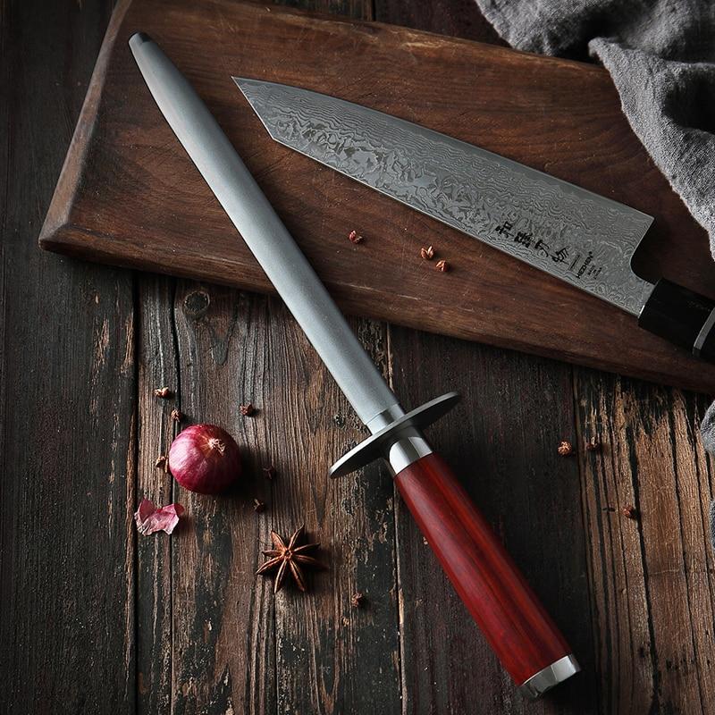 HEZHEN Knife Sharpener Rod Kitchen Knife Accessories High Carbon Stainless Steel Sharpener Stick Knife Grinder Rosewood