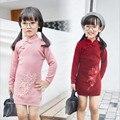 Vestidos de Niña de niño 2016 Otoño Invierno de Manga Larga Rosa/Rojo Bordado Floral Delgado Vestido de Punto Para Niños Kids Costume 2-7años