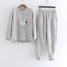 New 2 Pcs/lot Thick Coral Fleece Women pajamas set Bear Flannel Warm Winter Girls Pyjamas Lingerie Sleepwear home clothes