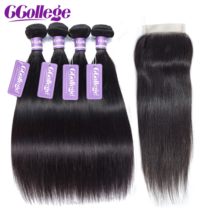 Brazilian Straight Hair Bundles With Closure Human Hair Weave 4 Bundles With Closure Remy Hair Extension