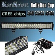 390 Вт 36 «Refletion Чашки Плюс 360 Вт 23 Inch Работа LED Light Bar Cree чипсы Комбо 2-рядный 3-роу Внешние Автомобильные Фары Off Road Drive лампы