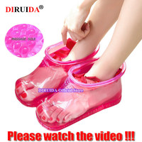1 Pair Foot Bath Massage Boot Household Relaxation Slipper Shoes Feet Care Hot Compress Foot Soak Theorapy Massage Acupoint
