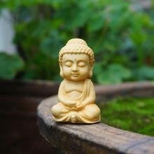 Миниатюрная статуэтка Будды, деревянный Будда, маленькие статуэтки монахов сказочные Садовые принадлежности украшения для террариума