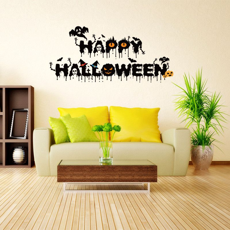 Zuczug halloween decoration wall stickers ghost wall decals removable scary wall sticker wall art mural decor for festival in wall stickers from home