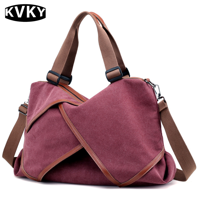 KVKY Brand Women Canvas Fashion Shoulder Bags Female Large Capacity Handbags Crossbody Bag Travel Casual Tote Bolsos Feminina876 squirrel fashion large canvas patchwork vogue vintage zipper pattern brand versatile crossbody women travel tote shoulder bags