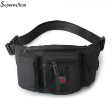 Soperwillton Men Bag fanny pack Waist Packs 2019 Crossbody Bag Oxford Waist Bag Black Casual Funny Pack Male Travel Bag #809(China)