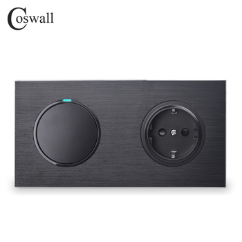 Coswall Black Aluminum Panel EU Standard Wall Socket + 1 Gang 2 Way On / Off Pass Through Light Switch Switched LED Indicator