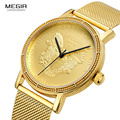 Megir Mens Fashion Gold Quartz Wrist Watches Round Dial Stainless Steel Strap Formal Dress Wristwatch for Man 2032