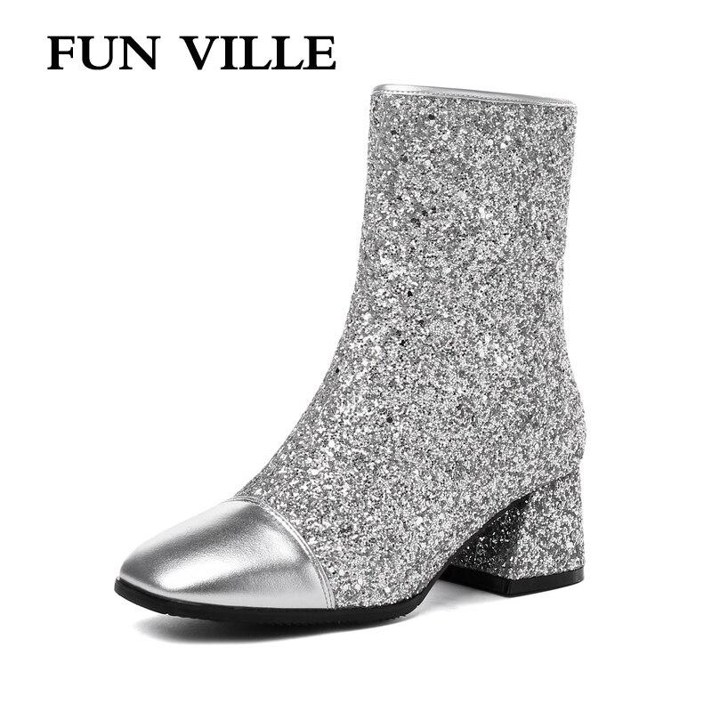 Nueva De Invierno Plush Ville Cuero Diversión Cuadrados Toe Señoras Silver 2018 With Plush Zapatos Otoño silver No Mujer Zipper Sexy Partido 45 Moda Botas 34 Genuino tBItF8qx