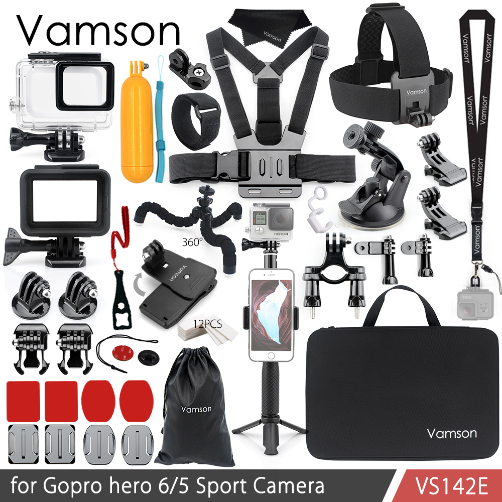 Vamson For Gopro Hero 7 6 5 Accessories Kit Waterproof Housing Case Frame Floaty Bobber Monopod For Go Pro Hero 6 5 Camera VS142