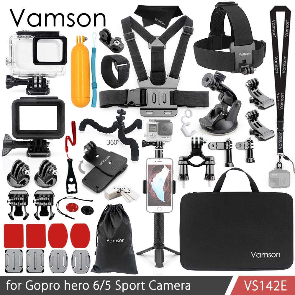 Vamson for Gopro Hero 7 6 5 Accessories Kit Waterproof Housing Case Frame Floaty Bobber Monopod for Go pro Hero 6 5 Camera VS142Sports Camcorder Cases   -