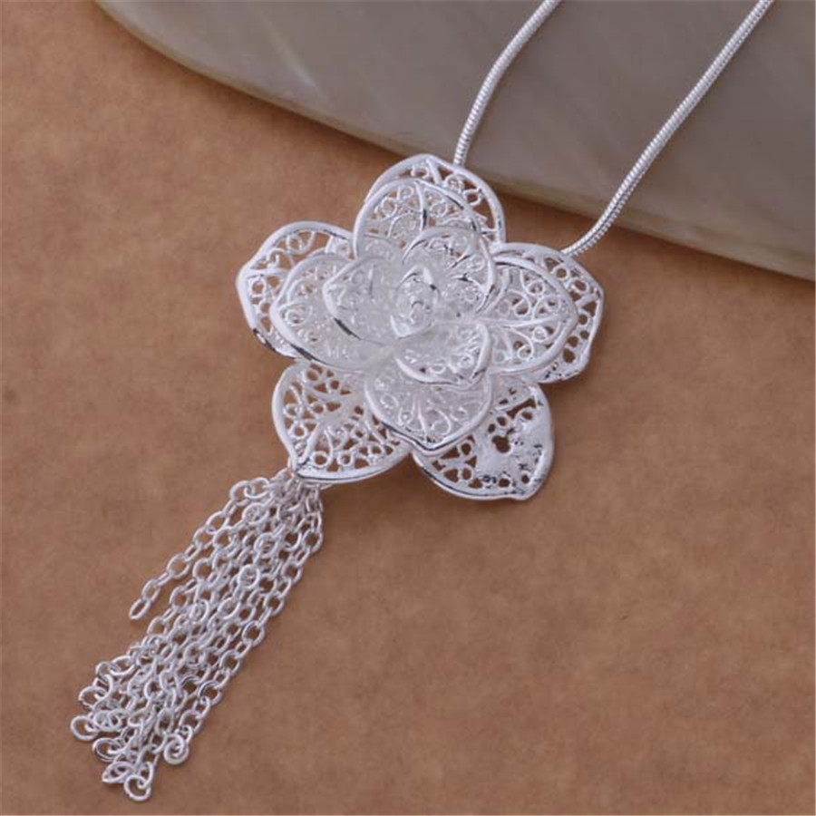 explosion models high quality factory direct silver plated jewelry fashion noble women flower necklace package mail AN699 Kinsle