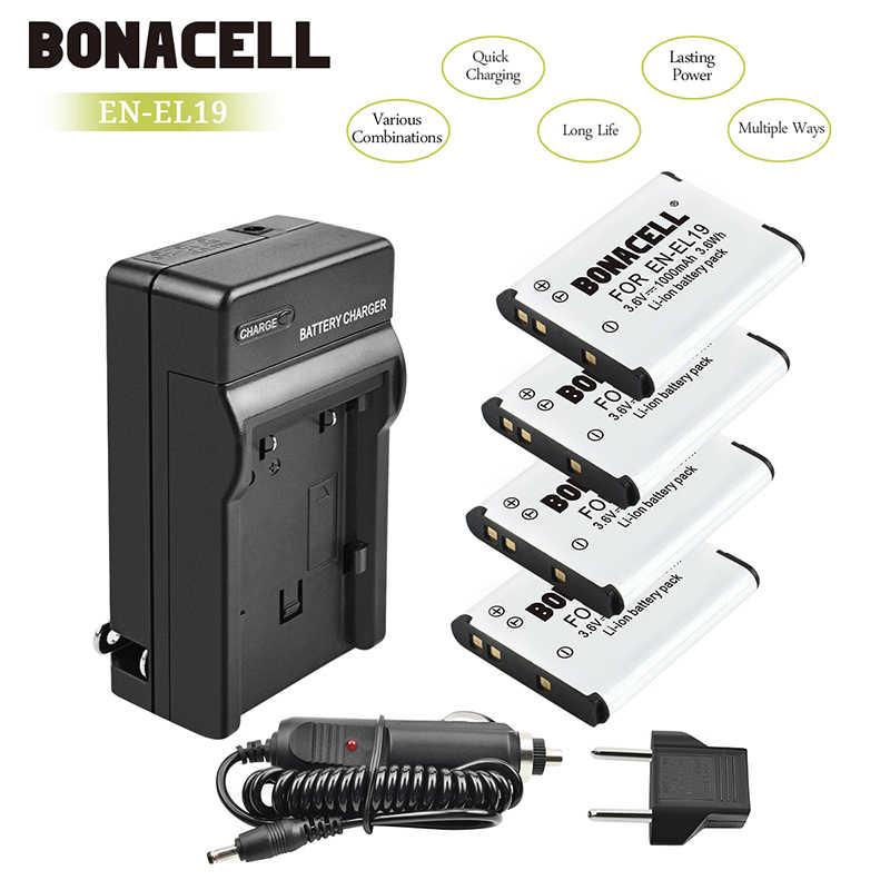 Bonacell 3 6 в EN EL19 литий ионные аккумуляторы с зарядным устройством для Nikon Coolpix S33 S32