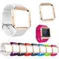 Faixa de Relógio de Silicone macio Substituir Cinta Esporte com Rose Gold Frame para Fitbit Blaze
