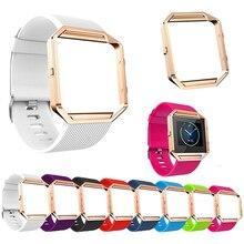 Montre De Silicone souple Bande Remplacer Sport Bracelet avec Rose Or Cadre pour Fitbit Blaze