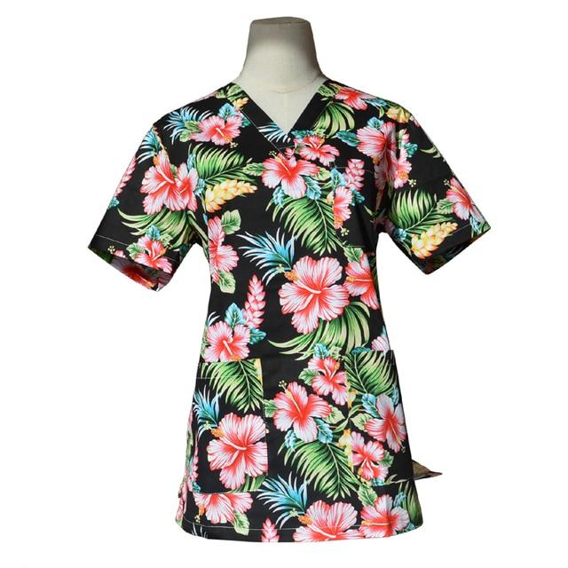 64f0ed3ff2d Women's V Neck Pure Cotton Flower Printing Scrubs TOP Short Sleeve Medical  Uniforms Cute