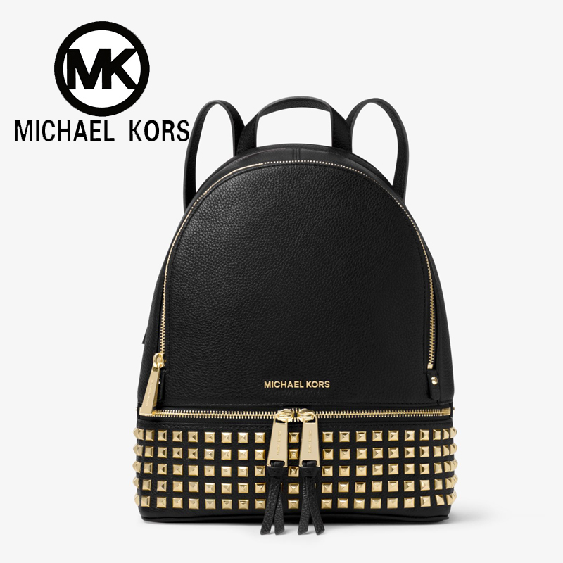 Michael Kors Official MK Women Bag Out Travel Bags Rhea Medium Studded Leather Backpack designer brand Luxury Women Bags michael kors new navy blue women s size xs studded hi low crewneck sweater $130
