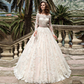 New Arrival Lace Long Sleeve Muslim Wedding Dress 2017 Vintage A Line Tulle Appliques Wedding Bridal Gowns Vestido De Noiva AL35