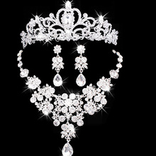 Bridal Wedding Jewelry Necklace Earrings Headdress Bridal Jewelry Sets Top Quality Wedding Plated Rhinestone Dress Accessories