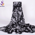 [BYSIFA] Winter Black White Silk Scarf Shawl Fashion Accessories Ladies Scarves Cape Spring Autumn Women Long Scarves 200*110CM