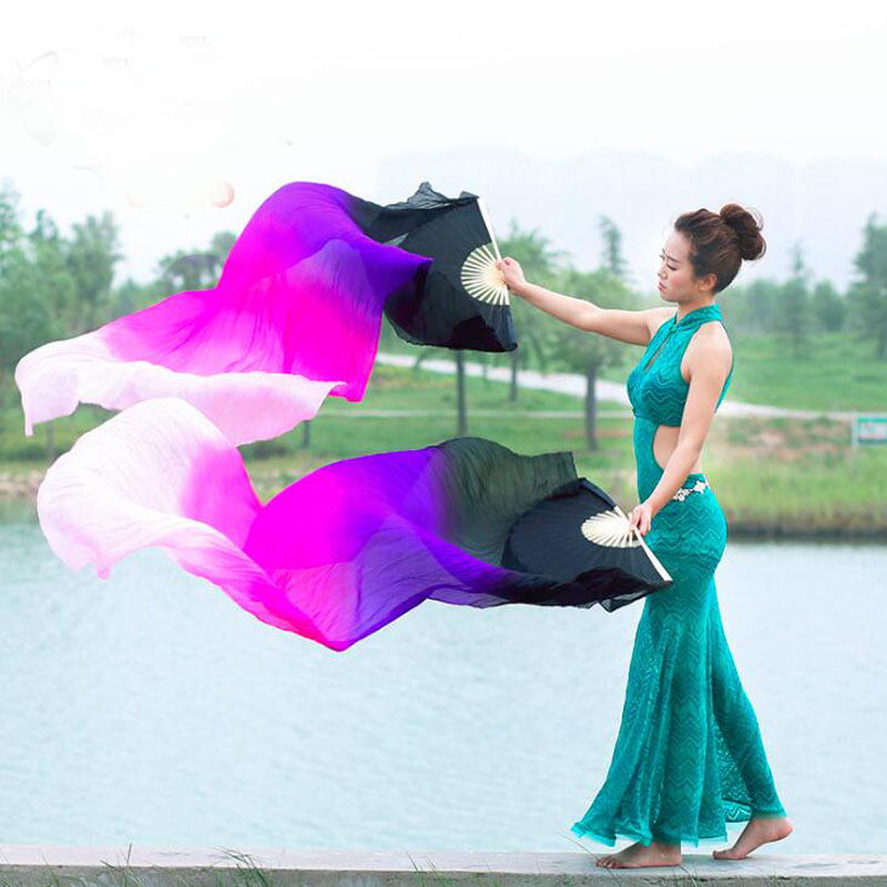 New Dyed Color 100% Real Silk Fan Veils For Oriental Dance Long Professional Stage Performance Dancing Props Fan Veil