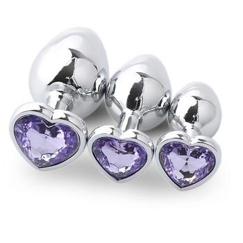 Light purple metal anal plug 3 sizes in a box