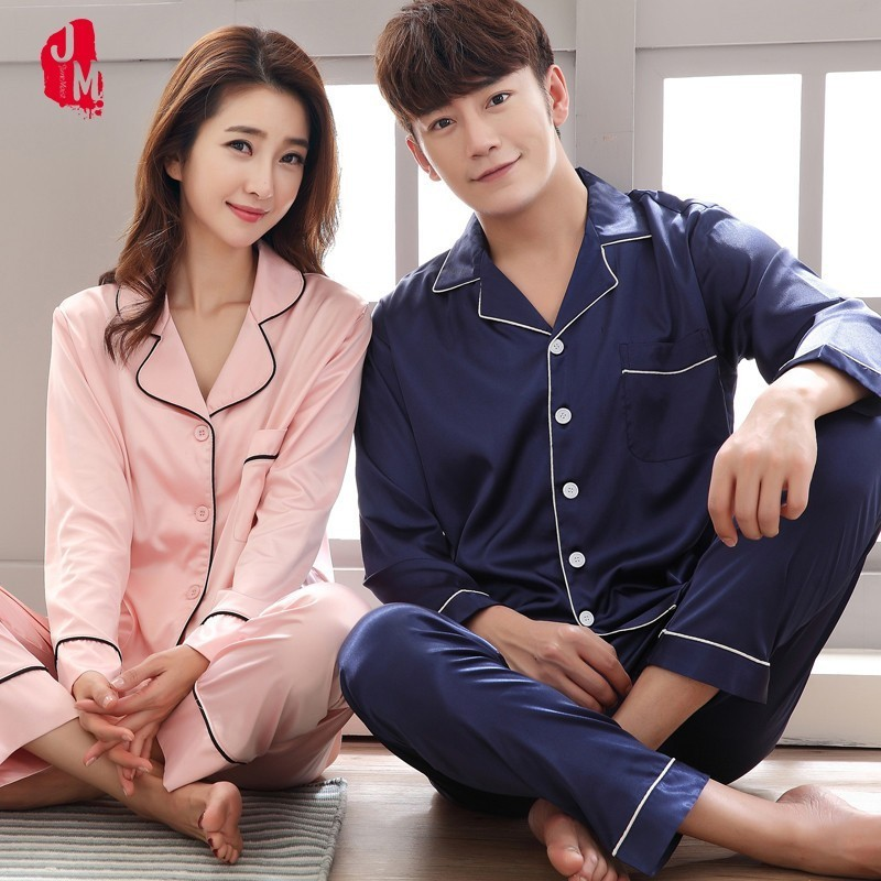 2018 Long Sleeve Satin Men Pajama Set Solid Autumn Two-Piece Silk Sleepwear For Men Suit Sleep Lover Pyjamas Man Homewear M-XXXL