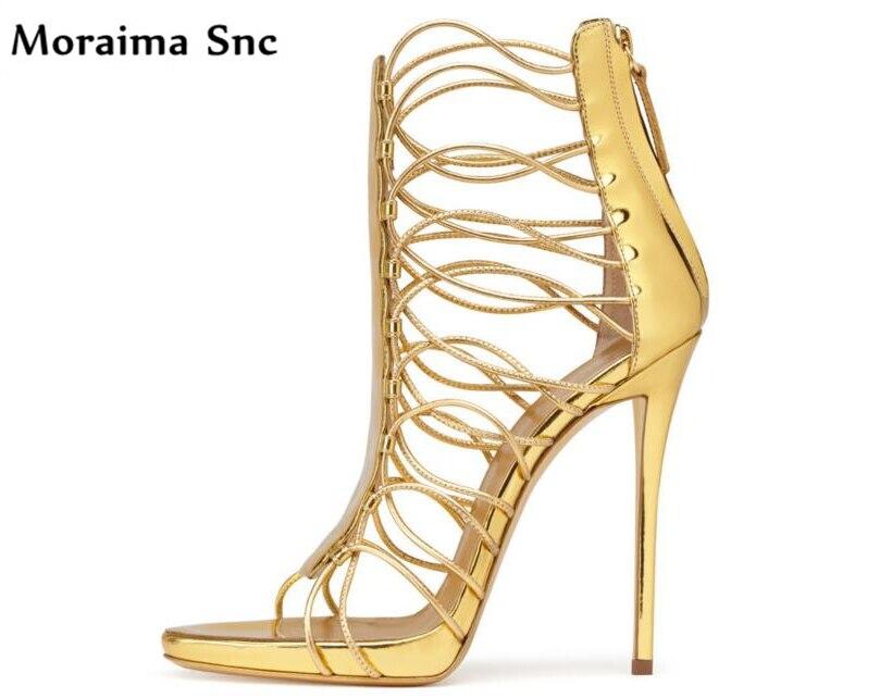 Moraima Snc summer Newest sexy women sandals platform peep toe narrow band chic thin high heels fashion shoes party sandals все цены