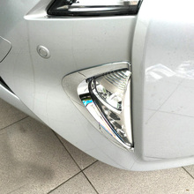 Free Shipping High Quality ABS Chrome Front Fog lamps cover Trim Fog lamp shade Trim For Toyota Prius недорого