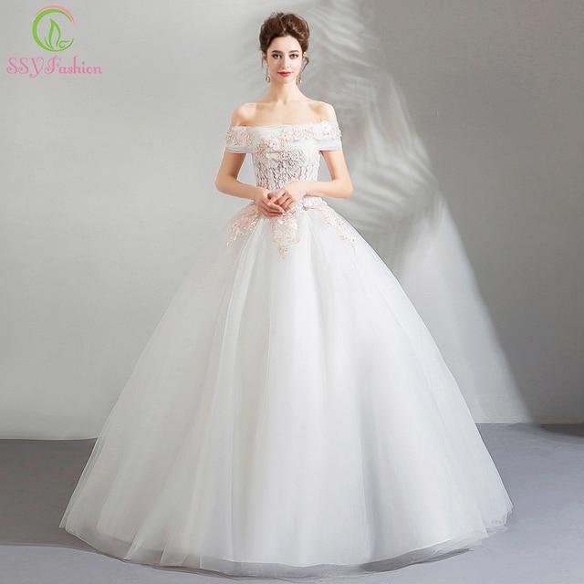 Simple Wedding Dresses Boat Neck: SSYFashion New Simple Wedding Dress Boat Neck Floor Length