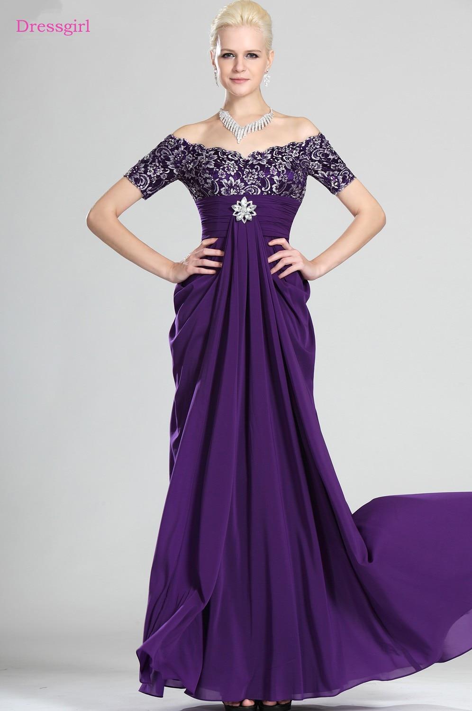Purple 2019 Mother Of The Bride Dresses A-line V-neck Cap Sleeves Chiffon Lace Crystal Long Elegant Groom Mother Dresses Wedding