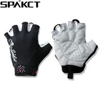 SPAKCT Women S Cycling Short Finger Half Finger Gloves Simple Love Embroidered Flowers Moto Gym Sports
