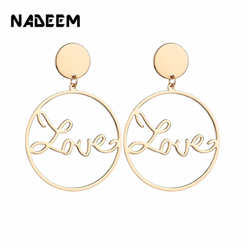 Boho Big Gold Hoop Earrings Basketball Brincos Round Gold Large Circle Love Letter Earrings For Women Jewelry Bijoux Accessory
